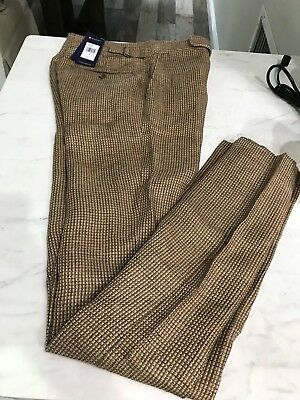 Polo Ralph Lauren Mens Tick Weave Trousers Pants 100% Linen Made In Italy $295
