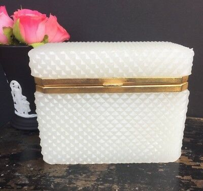 Antique Vintage French White Opaline Box