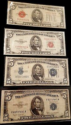 4 U.S. $5.00 notes, 2 Silver Certificates & 2 United States Notes  (4)