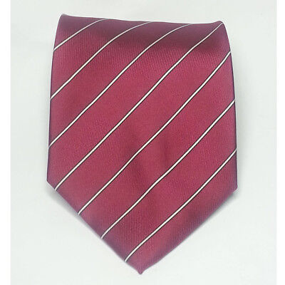 """JSACO Men Silk Dress Tie 3.75"""" wide 58"""" long Red with White Stripes Italy"""