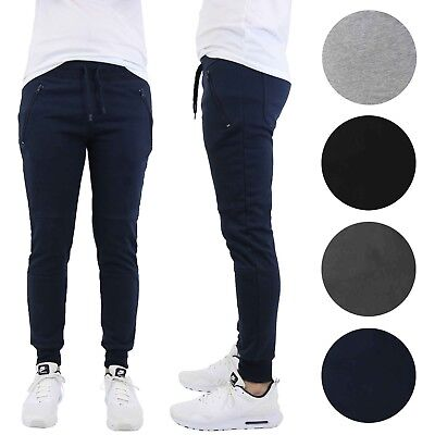 Mens Slim-Fit Joggers With Zipper Pockets French Terry Running Lounge Sports NEW