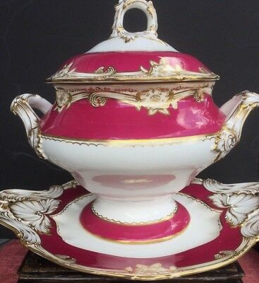 Antique English Porcelain Tureen With Platter