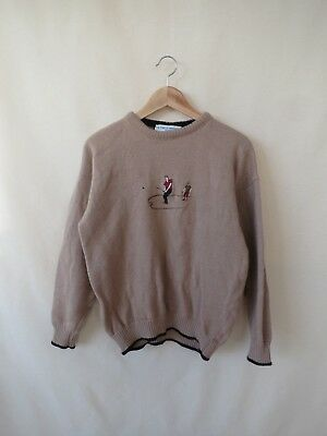 Vintage Le Tricot Marine Beige Brown Golf Knit Jumper 80s 90s / Made in Ireland