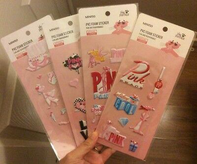 Miniso Pink Panther PVC Foam Sticker Collection Of 4