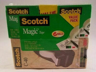 """Scotch C40 Tape Deluxe Dispenser 1 """" Core with 6 rolls of 3/4"""" Magic Tape - NEW"""