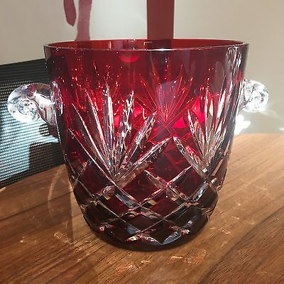 AJKA CRYSTAL Ruby red CUT TO CLEAR CRYSTAL ICE BUCKET - Brand New