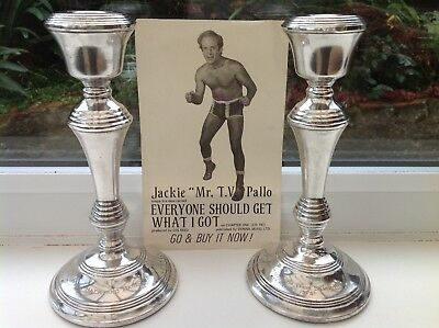 Large Solid Silver Candle Sticks 920g Jackie Pallo Wrestling.