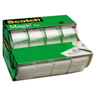 "Scotch Magic Tape in Handheld Dispenser 3/4"" x 300"" 1"" Core Clear 4/Pack 4105"