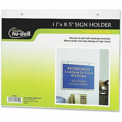"Nudell Wall Sign Holder Horizontal 11""x8-1/2"" Clear 38008"