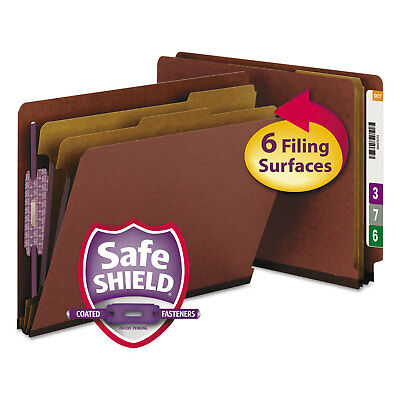 Smead Pressboard End Tab Classification Folder Letter Six-Section Red 10/Box