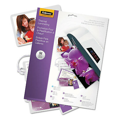 Fellowes Clear Laminating Pouch Assortment Kit 3mil Assorted Sizes 52/Pack