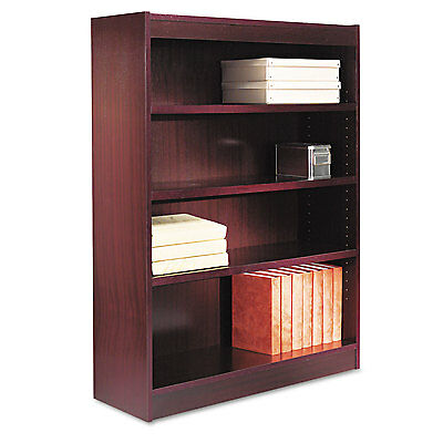 Alera Square Corner Wood Veneer Bookcase, Four-Shelf, 35-5/8 x 11-3/4 x 48,