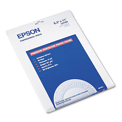 Epson Premium Photo Paper 68 lbs. Semi-Gloss 8-1/2 x 11 20 Sheets/Pack S041331