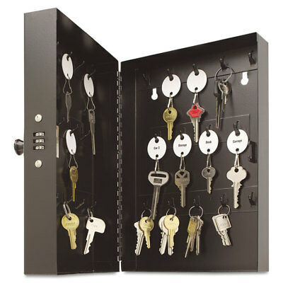 "SteelMaster Hook-Style Key Cabinet 28-Key Steel Black 7-3/4""w x 3-1/4""d x 11-1/2"