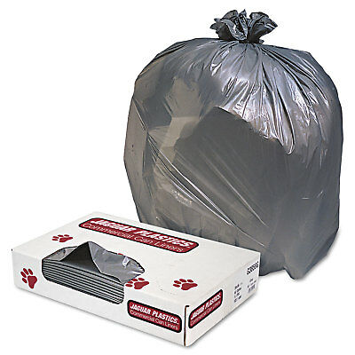 Jaguar Plastics Low-Density Commercial Can Liners 60gal 1.3mil Gray 100/Carton