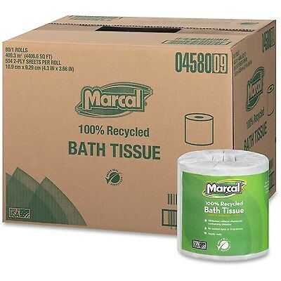 Marcal 100% Recycled Two-Ply Bath Tissue White 504 Sheets/Roll 80 Rolls/Carton