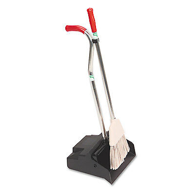 Unger Ergo Dustpan With Broom 12 Wide Metal w/Vinyl Coated Handle Black/Silver