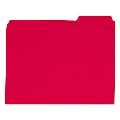 UNIVERSAL Colored File Folders 1/3 Cut Assorted Two-Ply Top Tab Letter Red 100