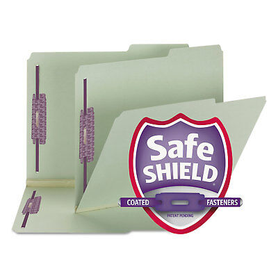 Smead Two Inch Expansion Fastener Folder 2/5 Tab Letter Gray Green 25/Box 14920