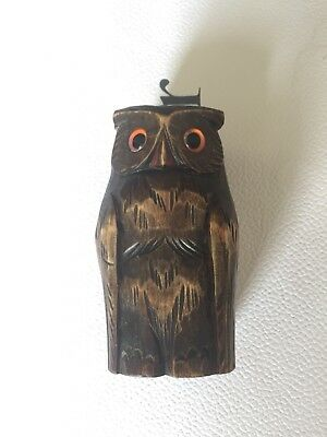 Vintage Antique Carved Black Forest Wooden Owl Taper Brush Holder Glass Eyes