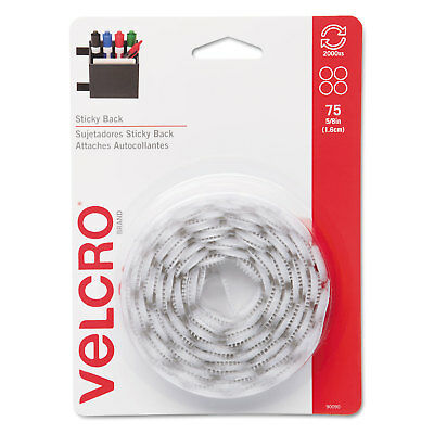 Velcro Sticky-Back Hook and Loop Dot Fasteners 5/8 Inch White 75/Pack 90090