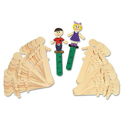 "Chenille Kraft People-Shaped Wood Craft Sticks 5 3/8"" Wood Natural 36/Pack"
