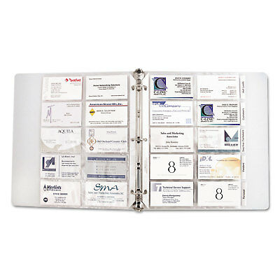 C-Line Business Card Binder Pages Holds 20 Cards 8 1/8 x 11 1/4 Clear 10/Pack