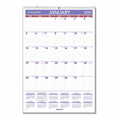 At-A-Glance Monthly Wall Calendar with Ruled Daily Blocks 15 1/2 x 22 3/4 White