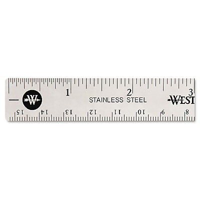 "Westcott Stainless Steel Office Ruler With Non Slip Cork Base 6"" 10414"