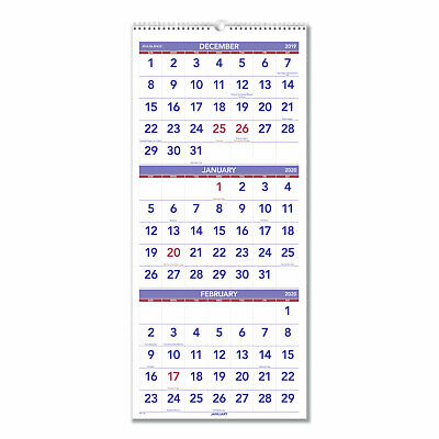 At-A-Glance Vertical-Format Three-Month Reference Wall Calendar 12 x 27