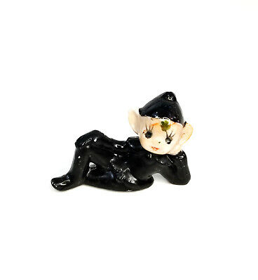 Vintage Black Pixie Elf Laying on Side Ceramic Christmas Figurine-Japan