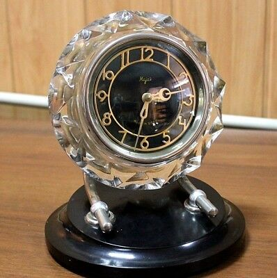 USSR Majak table clock crystal Vintage Art Deco Russian mechanical watches