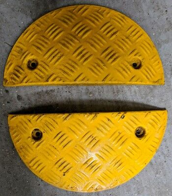2x Ends Heavy Duty Modular Speed Bumps Sleeping Policeman Yellow 415mm