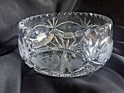"""ABP Hand Cut Crystal & Etched Bowl with Flowers 7.5"""" D x 4"""" H"""