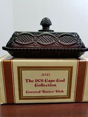 """Avon Ruby Red 1876 Cape Cod Collecation 7"""" Covered Butter Dish"""