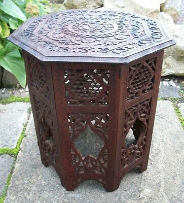 Antique Octagonal Carved Folding  Anglo/ Indian   Side Table