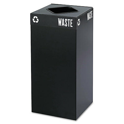 Safco Public Square Recycling Container Square Steel 31gal Black 2982BL