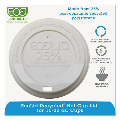 Eco-Products EcoLid 25% Recy Content Hot Cup Lid White F/10-20oz 100/PK 10 PK/CT