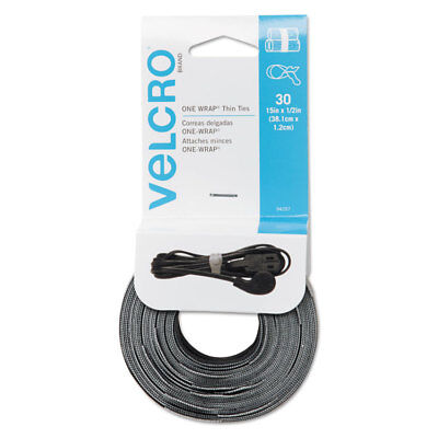 Velcro Reusable Self-Gripping Cable Ties 1/2 x 15 inches Black/Gray 30 Ties Each