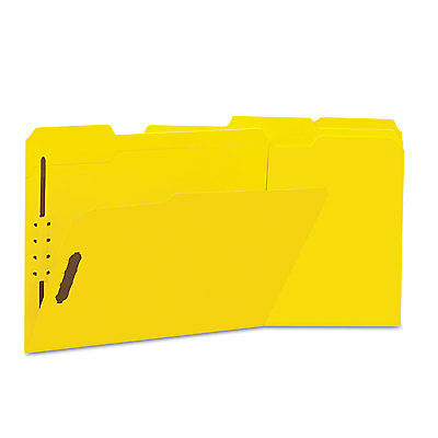 UNIVERSAL Deluxe Reinforced Top Tab Folders 2 Fasteners 1/3 Tab Letter Yellow 50
