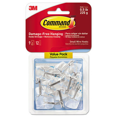 Command Clear Hooks & Strips Plastic/Wire Small 9 Hooks w/12 Adhesive Strips per