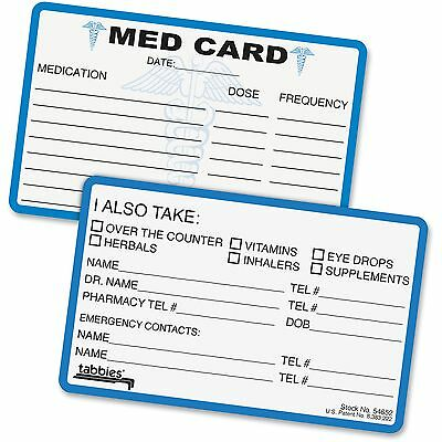 "Tabbies Medical Information Cards 6-7/8x6-7/8""x2-1/4"" 25/PK BE 54652"