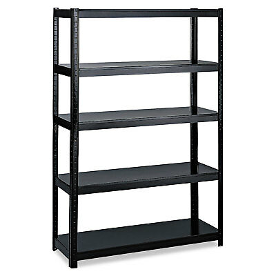 Safco Boltless Steel Shelving Five-Shelf 48w x 24d x 72h Black 5244BL