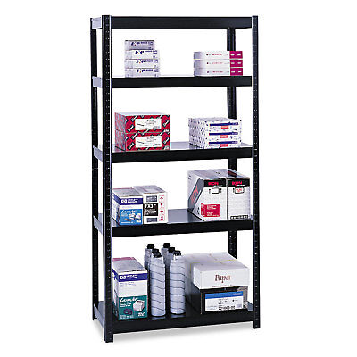Safco Boltless Steel Shelving Five-Shelf 36w x 24d x 72h Black 5247BL
