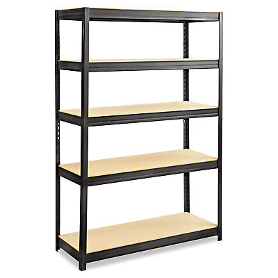 Safco Boltless Steel/Particleboard Shelving Five-Shelf 48w x 18d x 72h Black