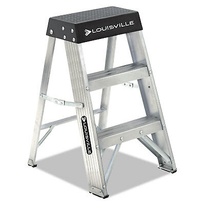 LOUISVILLE Aluminum Step Stool 17w x 18 1/4 Spread x 26h Aluminum/Black AS3002
