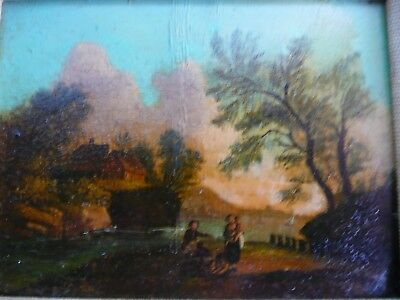 Antique 18th century miniature oil on copper, Picnic by the River.......ref.1379