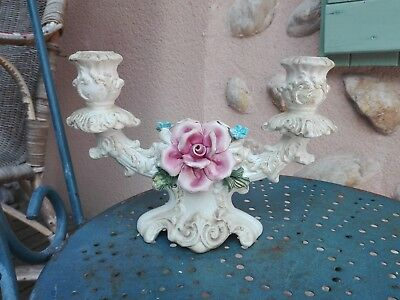 Ancien Chandelier Bougeoir Rocaille Faience Facon Barbotine Italie Decor Roses