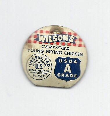 Wilson's Certified Grade A Poultry Chicken Advertising Pin - 1935
