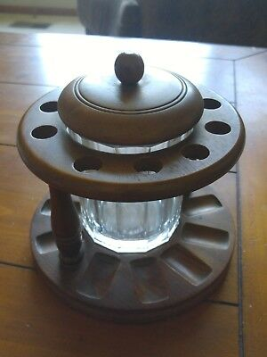 Vintage Round Wood 10 Holder Pipe Stand Amber Glass Aztec Humidor.